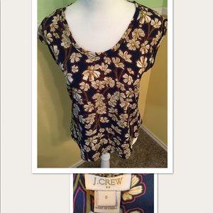 J. Crew floral cap sleeve blouse